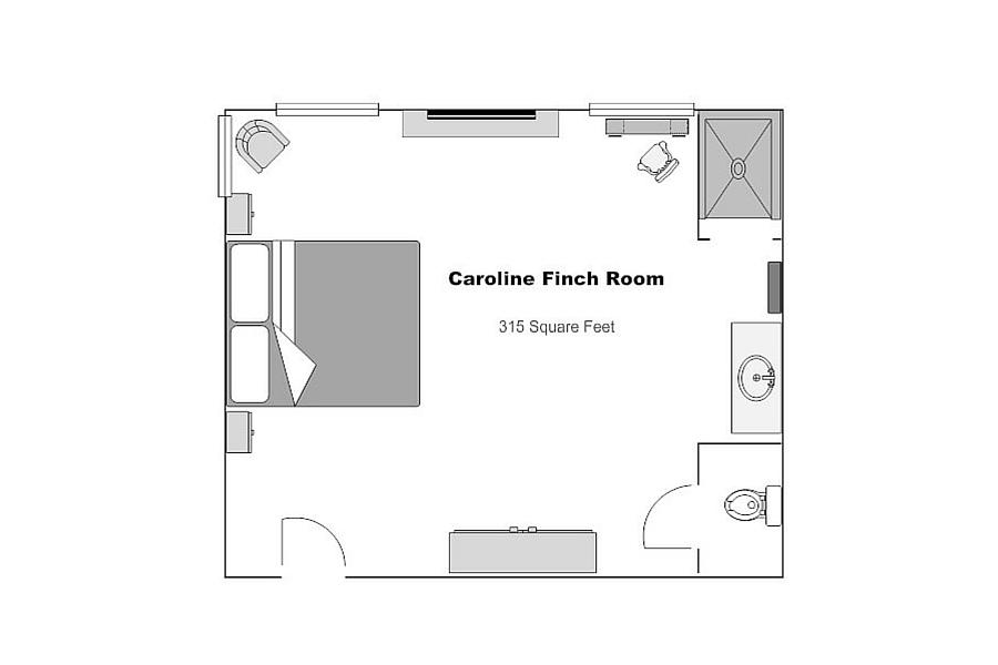 The Caroline Finch Room floor plan | Kehoe House Savannah