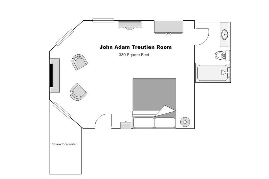 The John Adam Treutlen Room floorplan