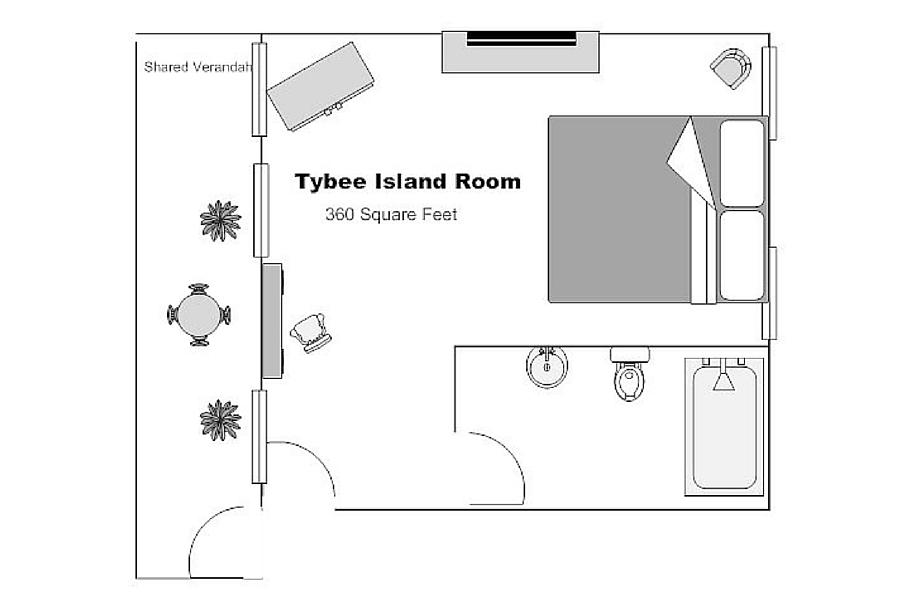 The Tybee island Room floorplan | Kehoe House Savannah