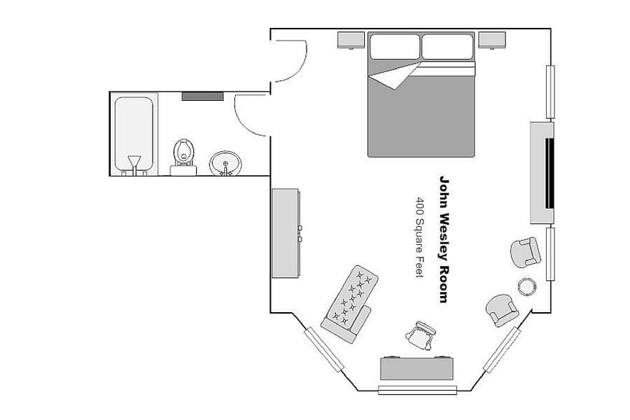 The John Wesley Room Floor Plan | Kehoe House Savannah